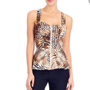 🎉 NWT- Bebe Cheetah Print Peplum Top- Medium 🎉